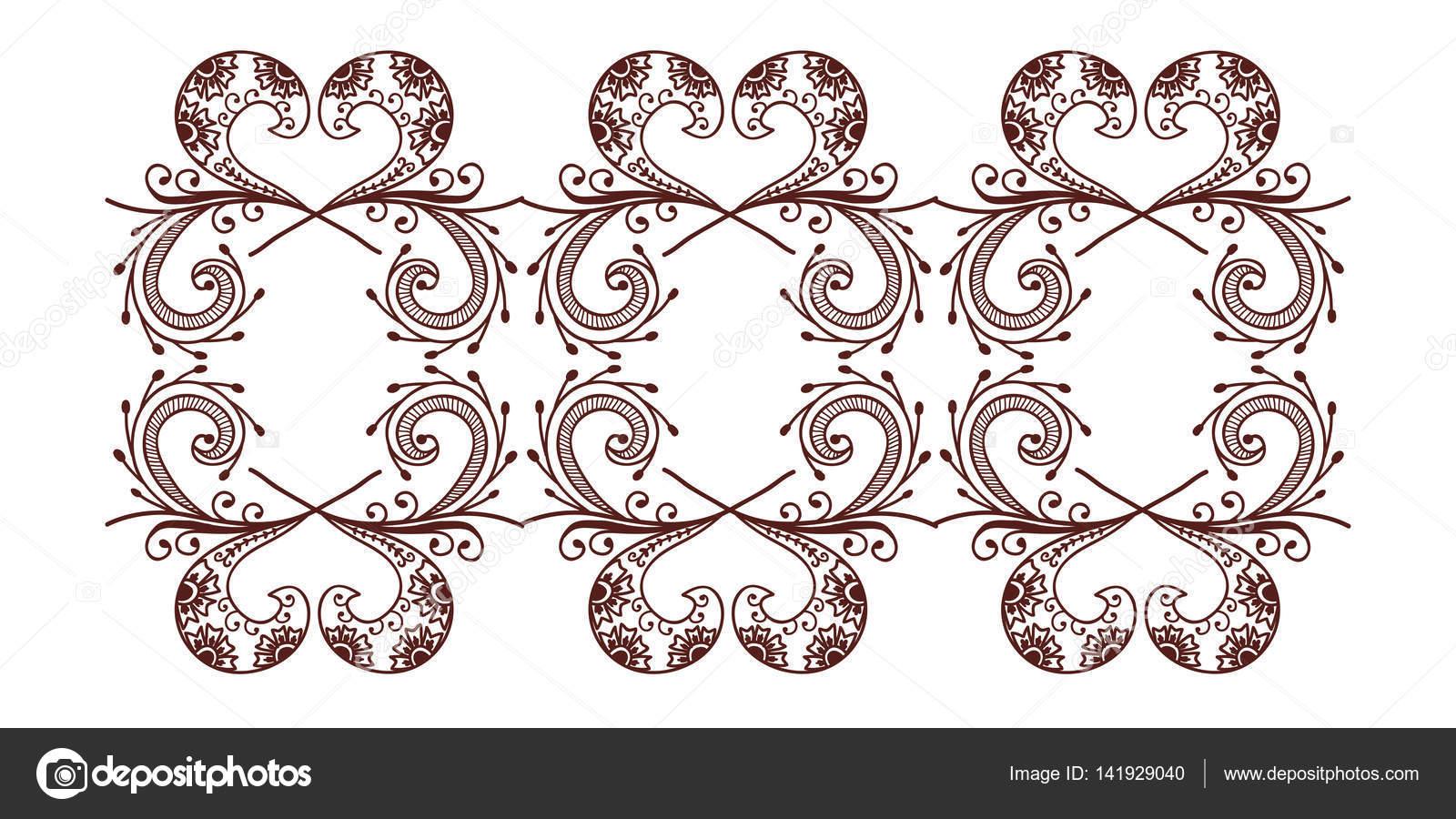 Henna Tattoo Mehndi Blume Vorlage Vektor-illustration — Stockvektor ...