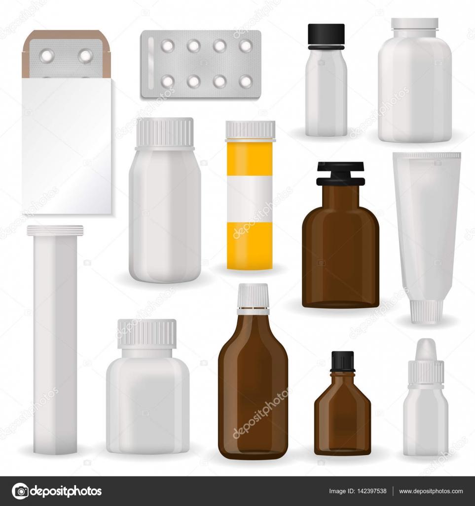 Flasche Pack Vorlage Mock-up leer pharmazeutische Blister mit Pillen ...
