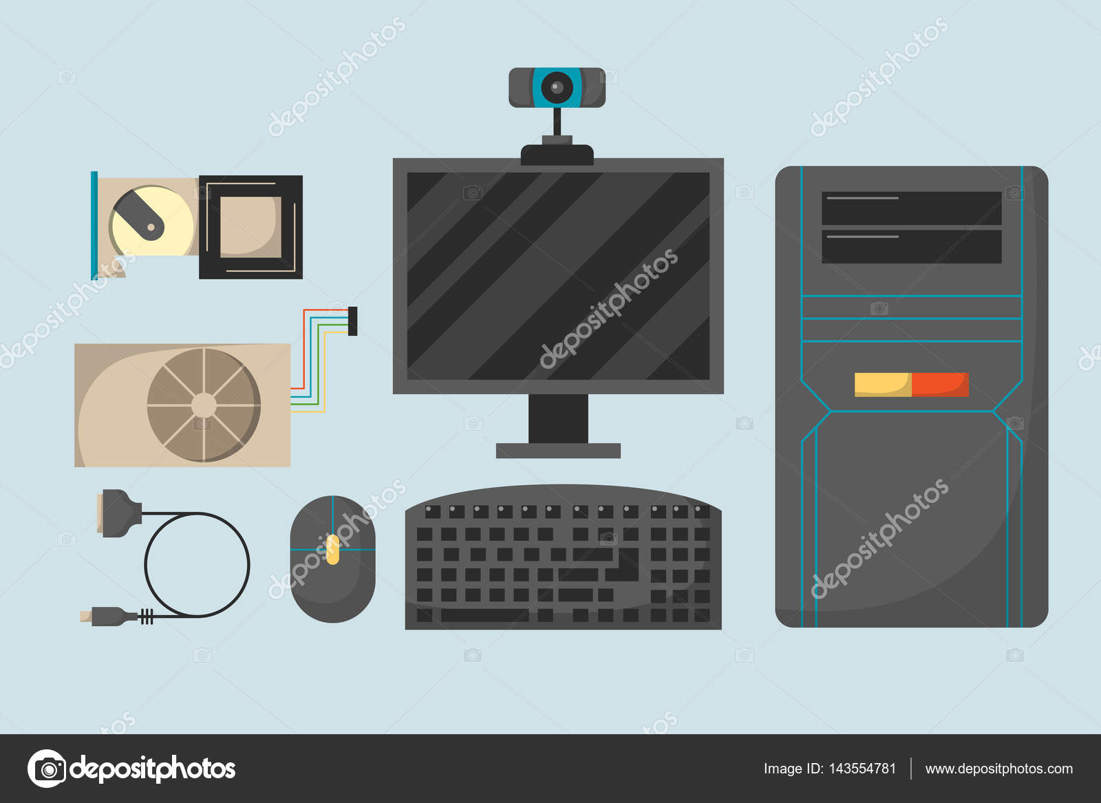 Computer Parts Network Component Accessories Various Electronics Devices And Desktop Pc Processor Drive Hardware Memory Card Vector Illustration