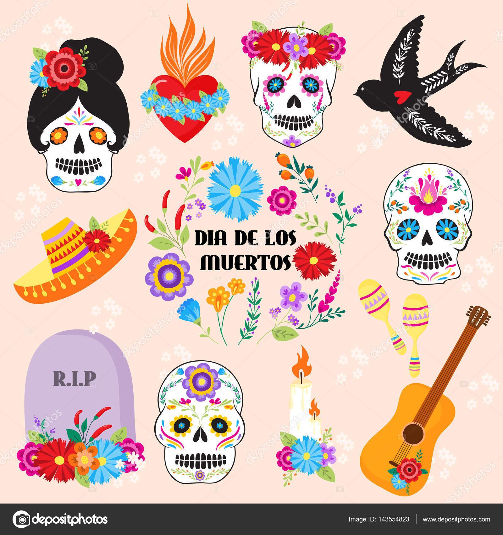 Símbolos De Colores Dia De Los Muertos Día De Muertos Vector De