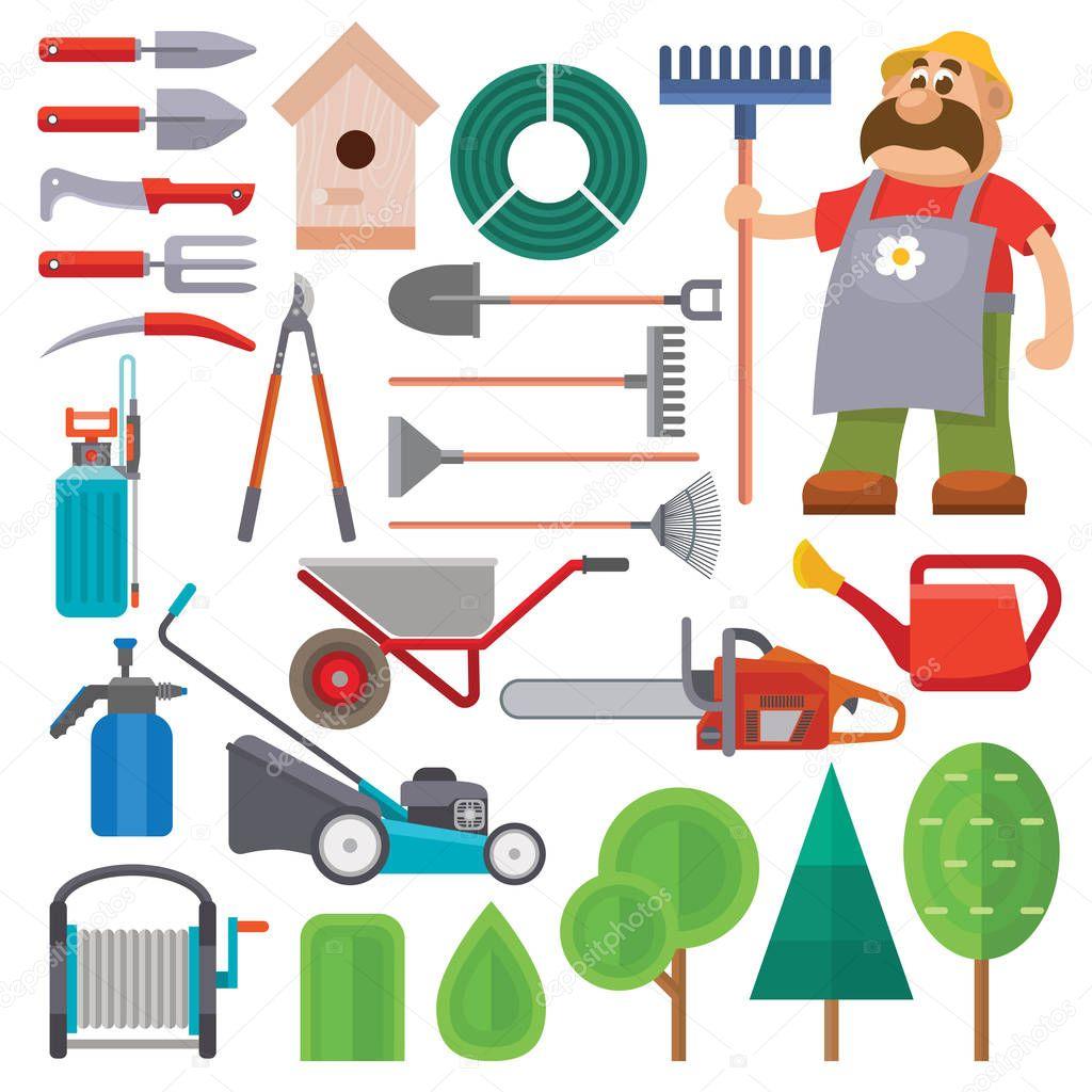 Garden equipment flat set vector and gardener character with beard and rake illustration