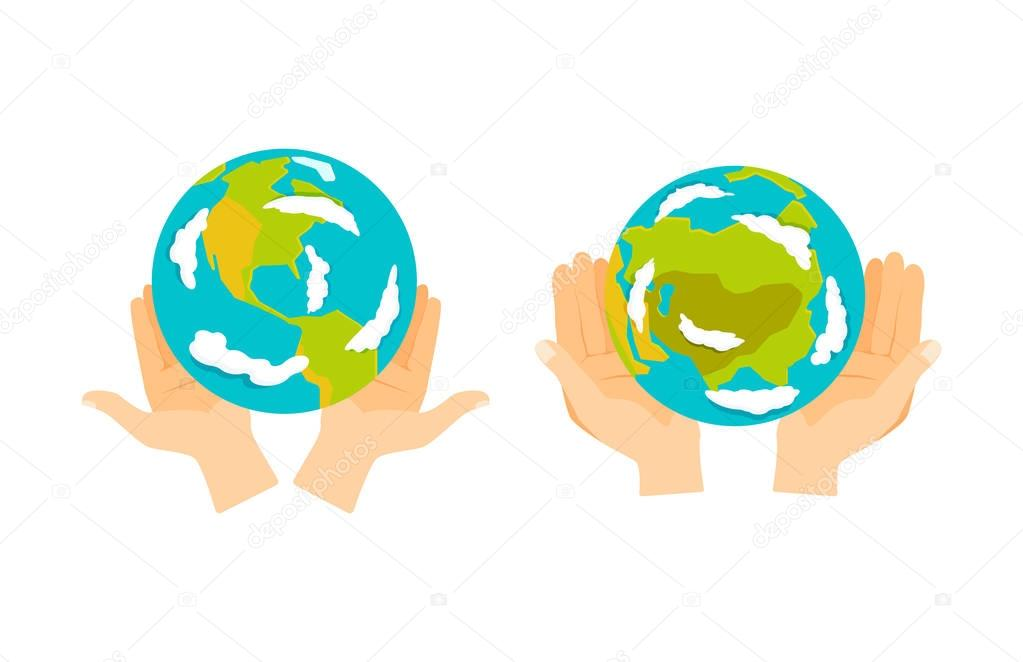 Globe earth in hand icon vector illustration.