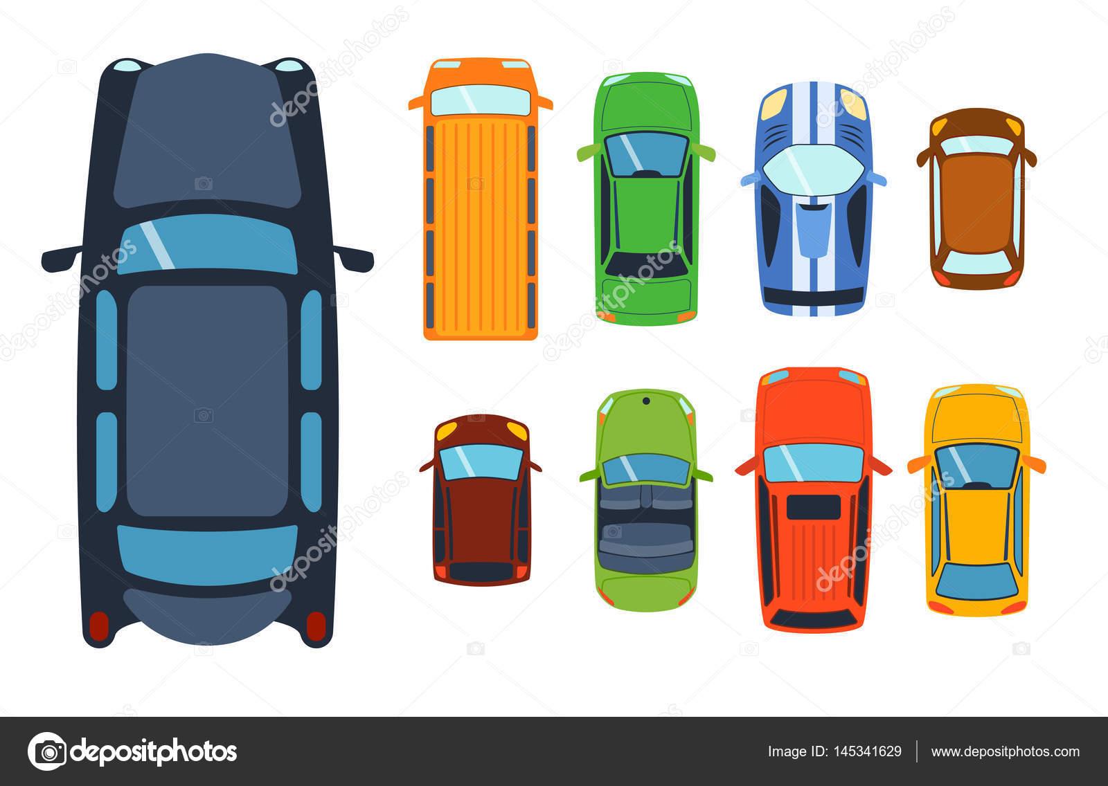 vista area superior en colorido coche juguetes diferentes recoleccin automvil transporte y coleccin rueda transporte diseo