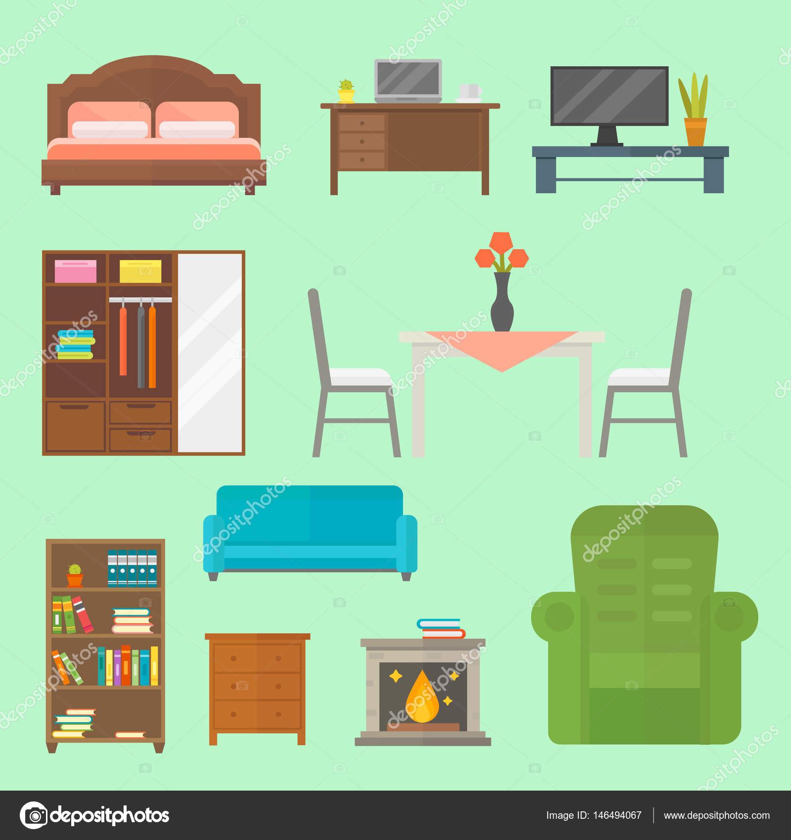 Icono de decoraci n para el hogar muebles conjunto for Mueble vector