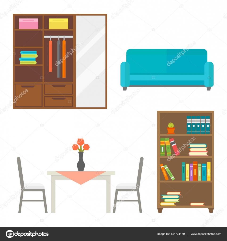 Furniture Home Decor Icon Set Indoor Cabinet Interior Room Library Office  Bookshelf Modern Restroom Silhouette Decoration Vector Illustration.
