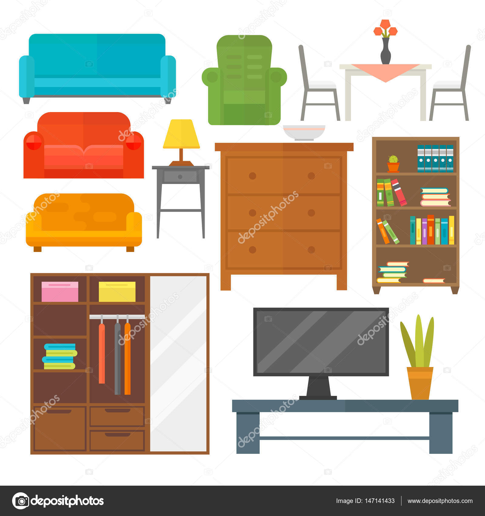 Furniture Home Decor Icon Set Indoor Cabinet Interior Room Library  # Muebles Deutsch