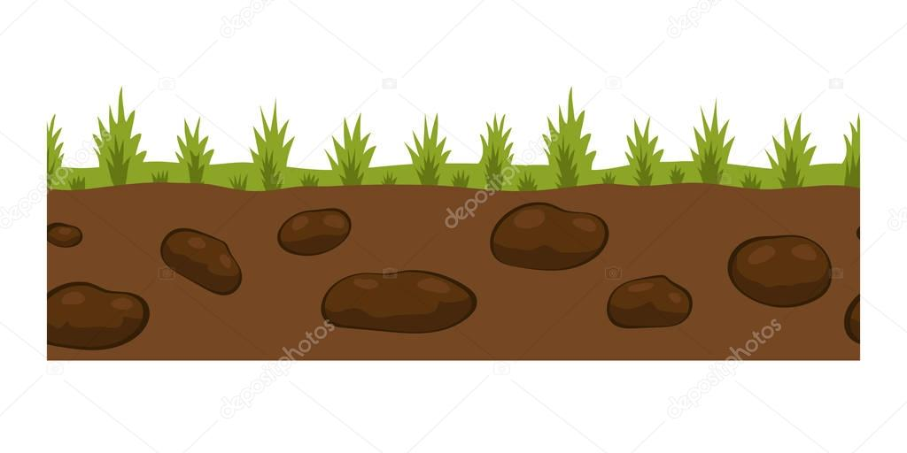 Cross section ground slice isolated some piece nature outdoor ecology underground and freestanding render garden natural geologist earth vector illustration.