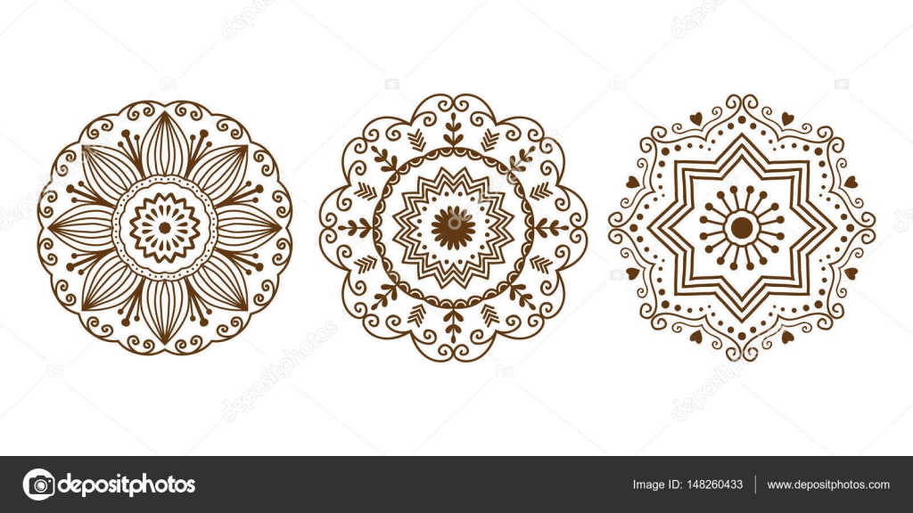 Henna Tattoo Mehndi braun Blume Vorlage doodle ornamentale Spitze ...