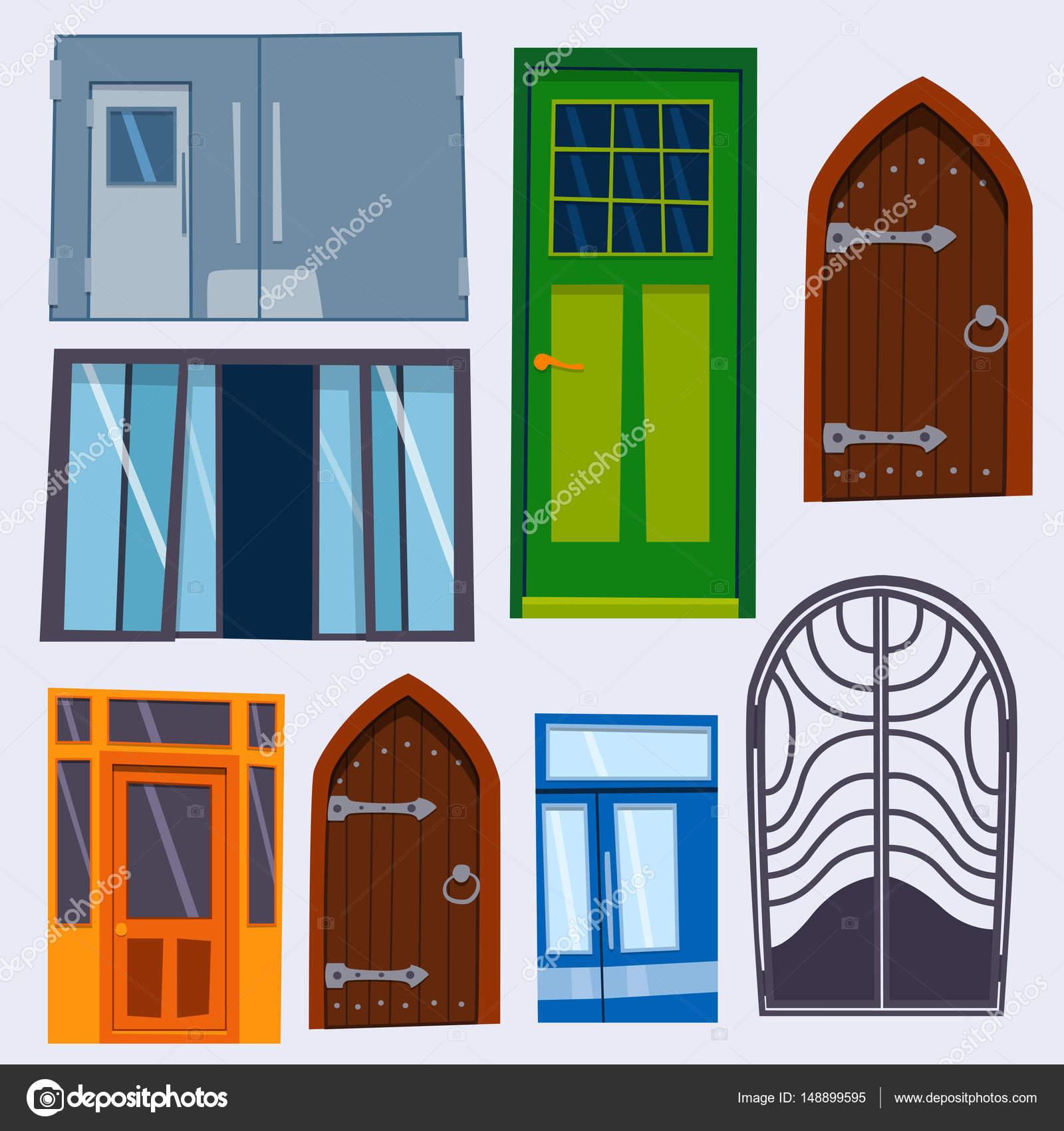Farbe Tür vorne nach Haus und flache Bauweise Baustil isoliert ...