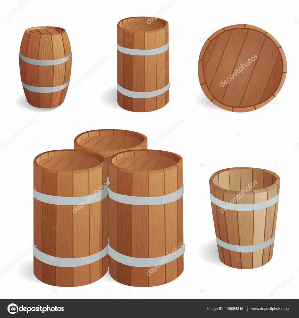 Wooden barrel vintage old style oak storage container and brown