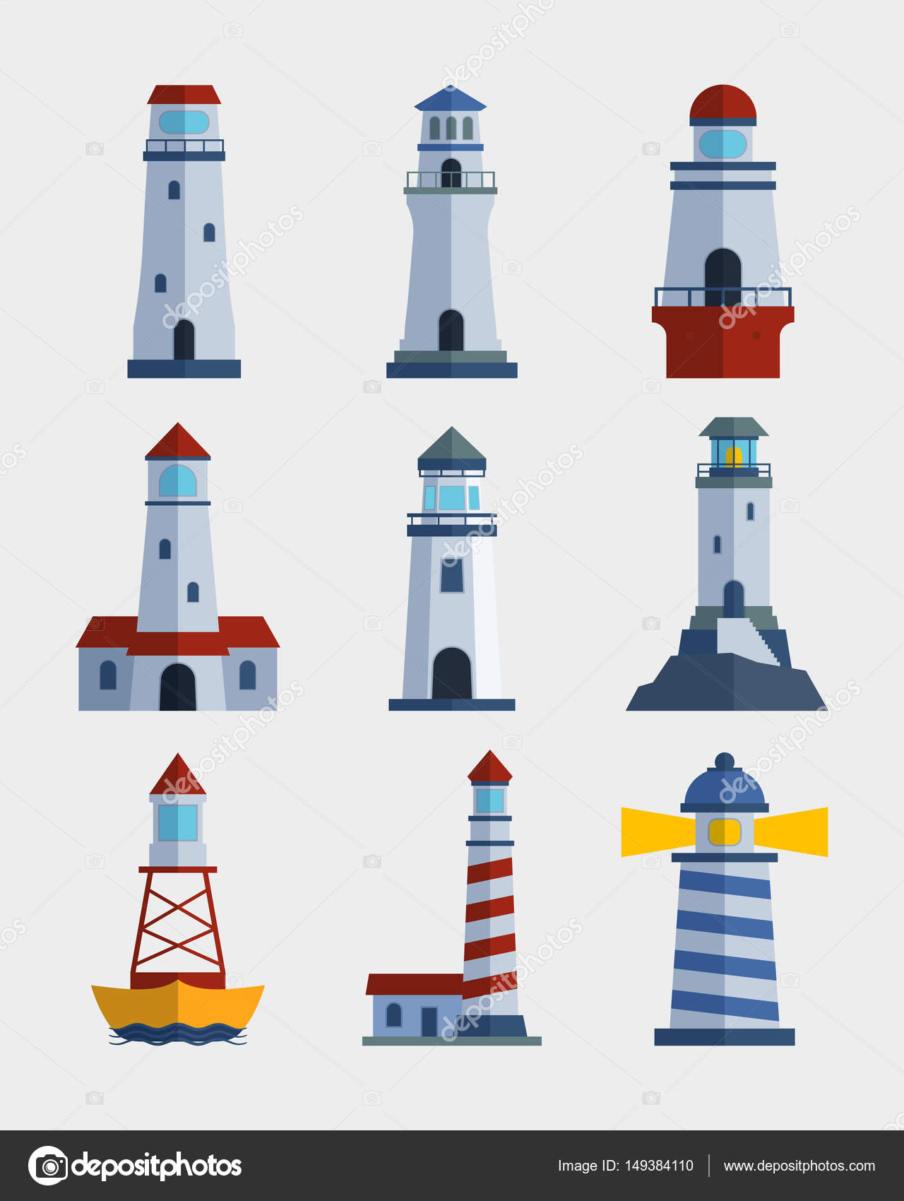 torre de farol farol liso dos desenhos animados para ilustração