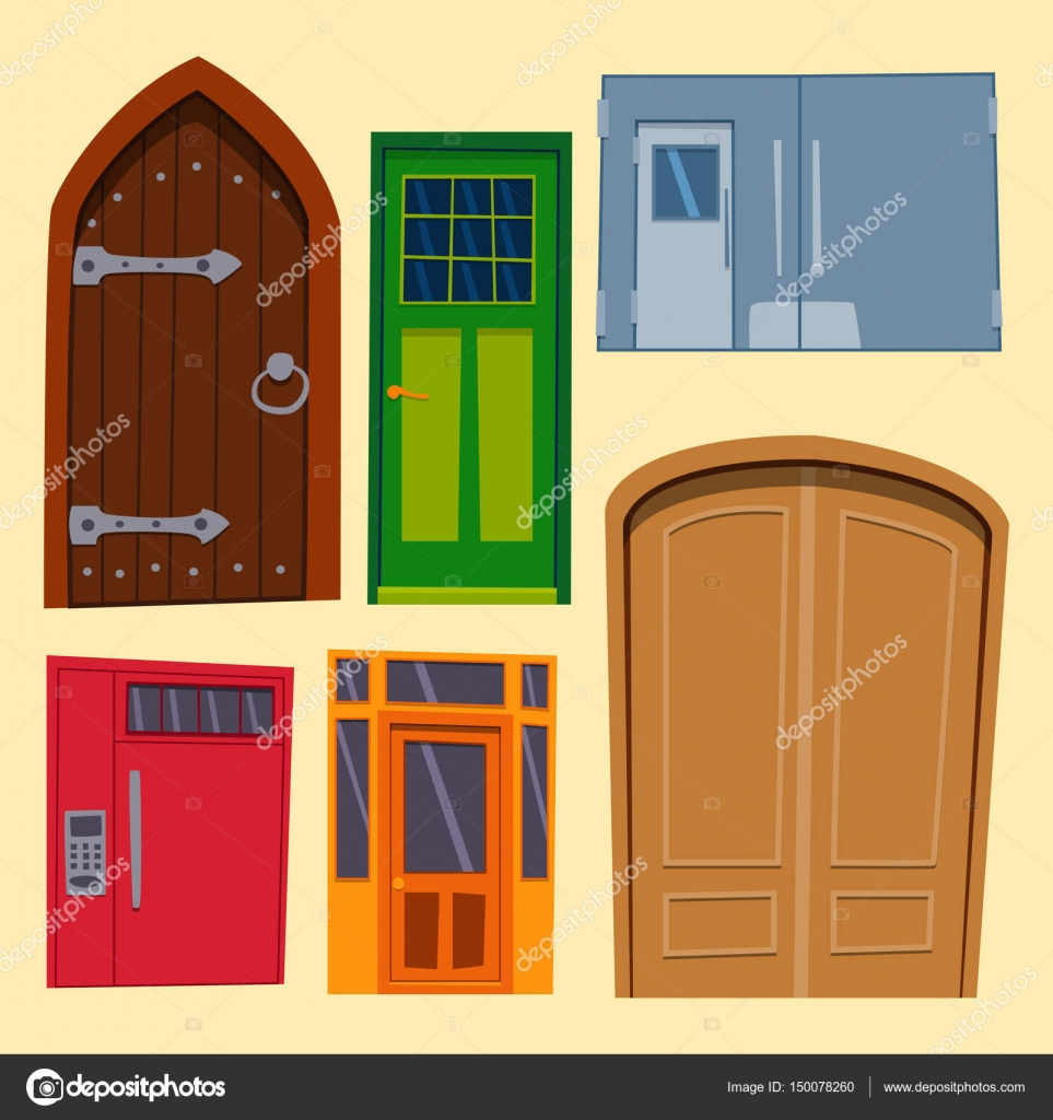 open front door illustration. Interesting Door Color Door Front To House And Building Flat Design Style Isolated Vector  Illustration Modern New Decoration Open Elegant Room Lock For Open Front Door Illustration