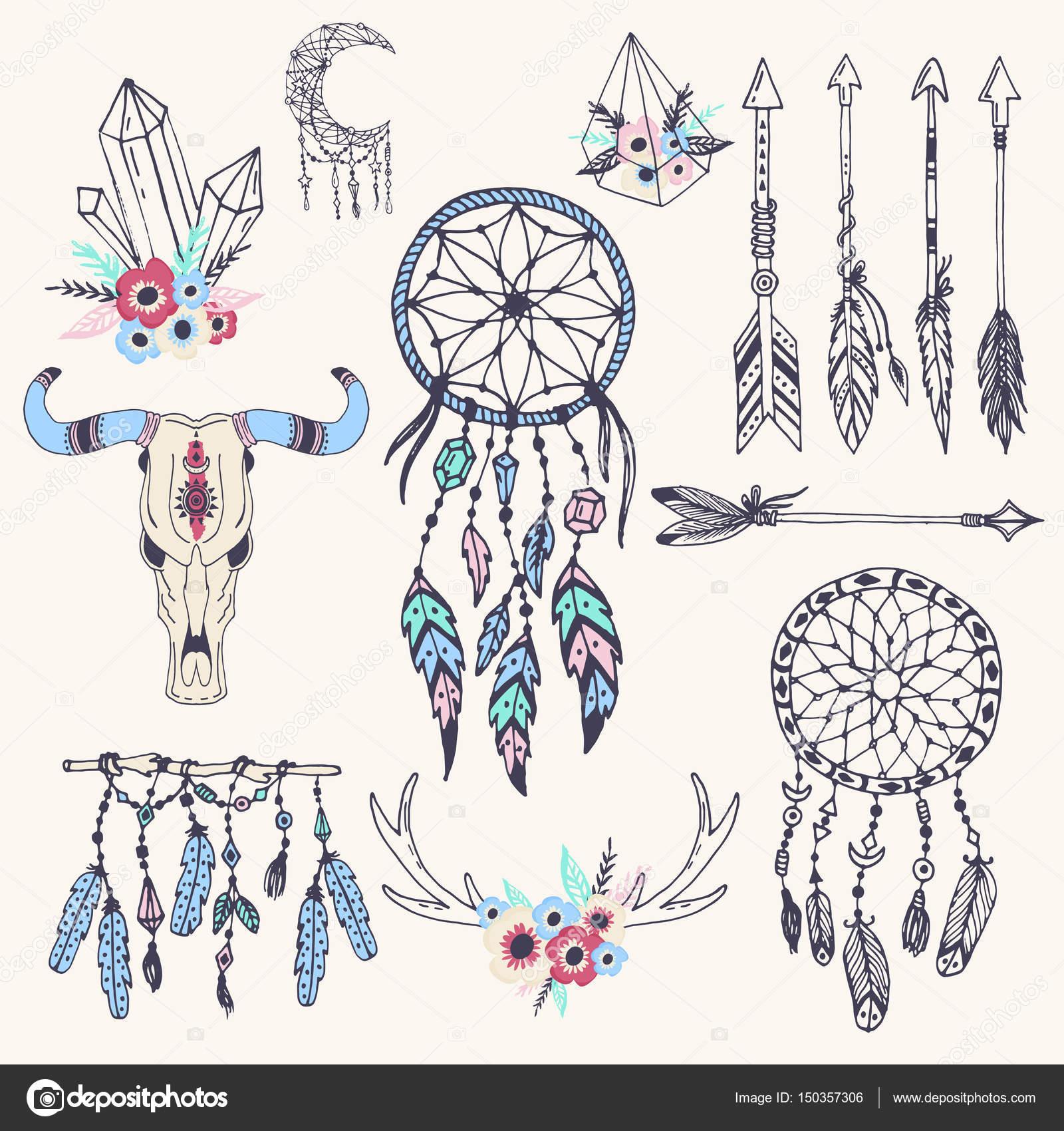 Ilustración del vector creativo boho estilo Marcos mady plumas ...