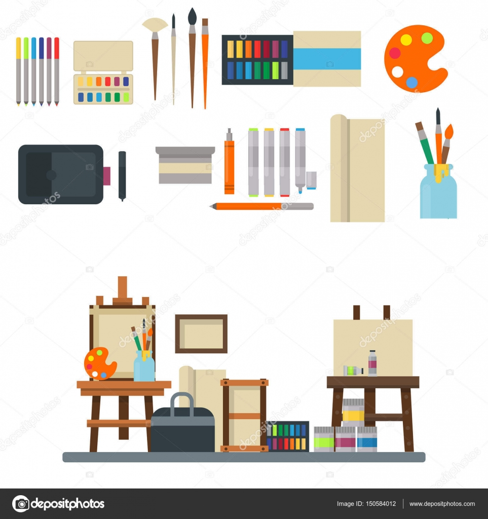 Painting art tools palette icon set flat vector illustration details