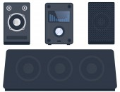 Technologie zařízení subwooferu reproduktory domácí zvukový systém stereo plochých vector hudební přehrávač
