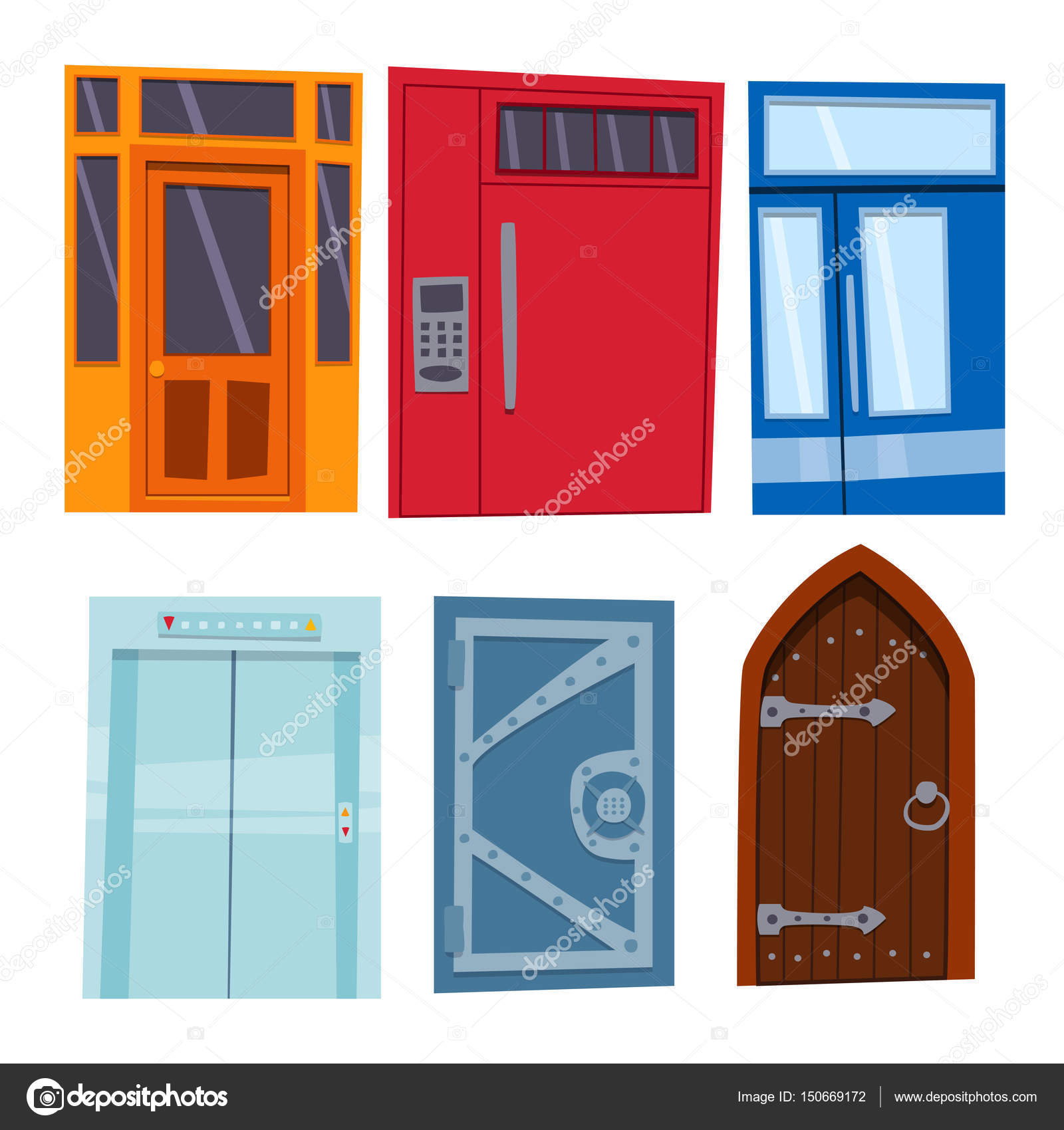 Color door front to house and building flat design style isolated