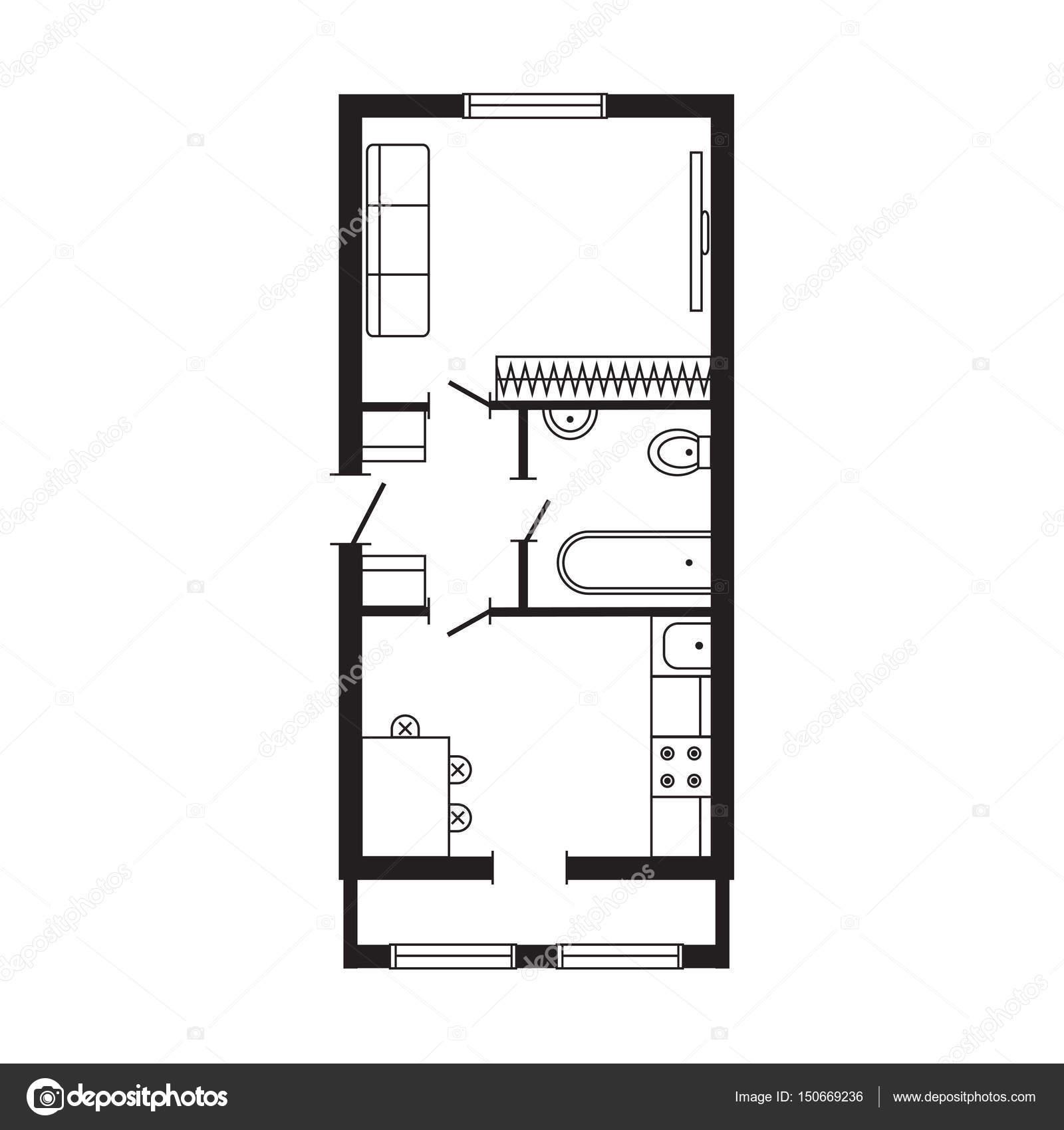 Bureau Moderne Plan Architectural Int Rieur Meubles Et  # Plan Des Meubles
