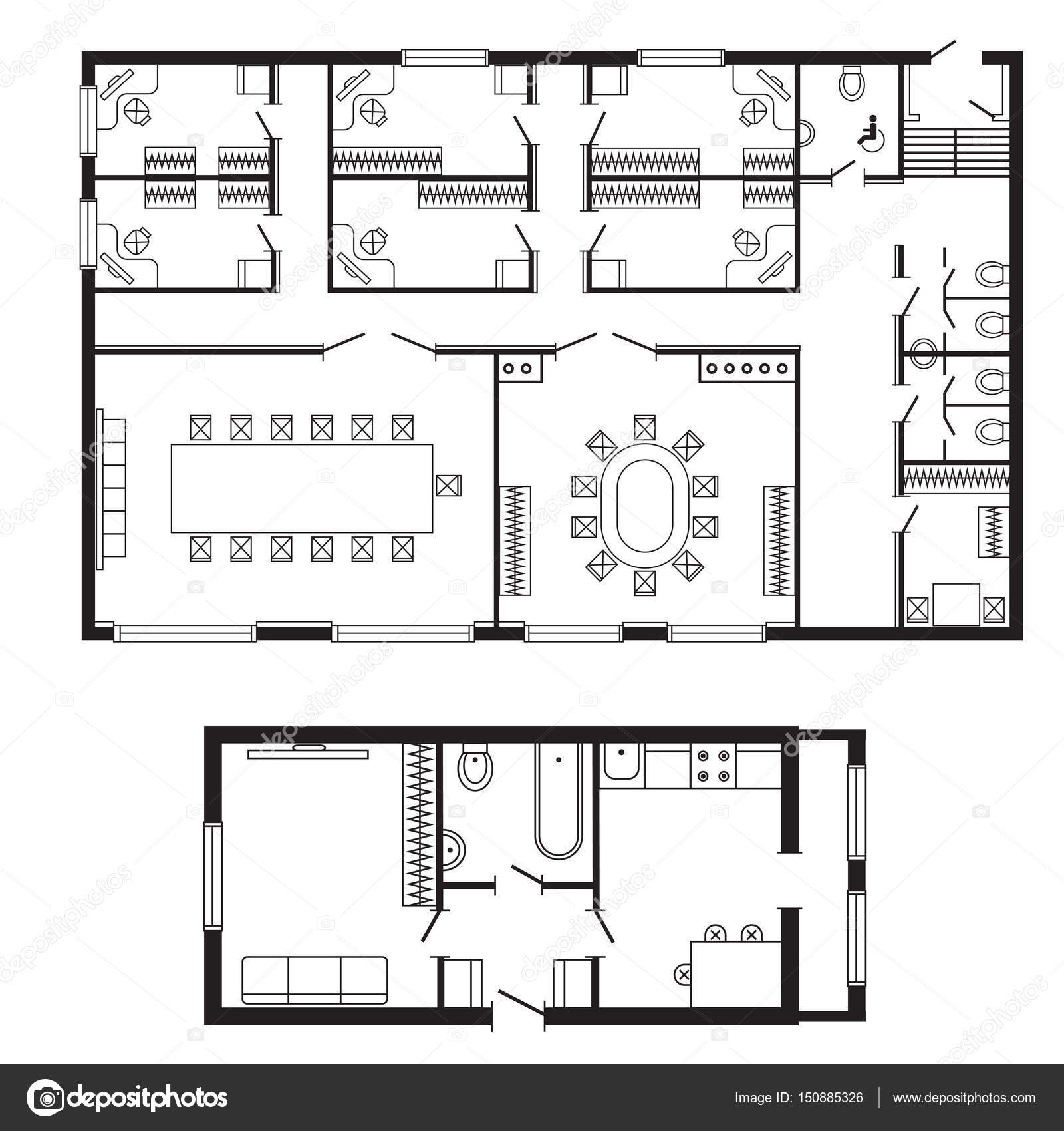 Bureau moderne plan architectural int rieur meubles et for Distribucion de oficinas modernas