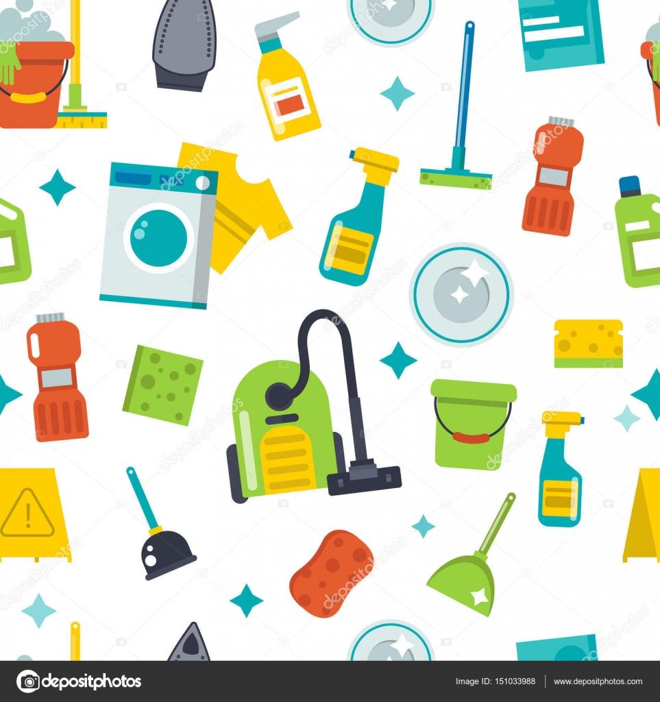Casa limpieza herramientas patrón transparente fondo vector de ...