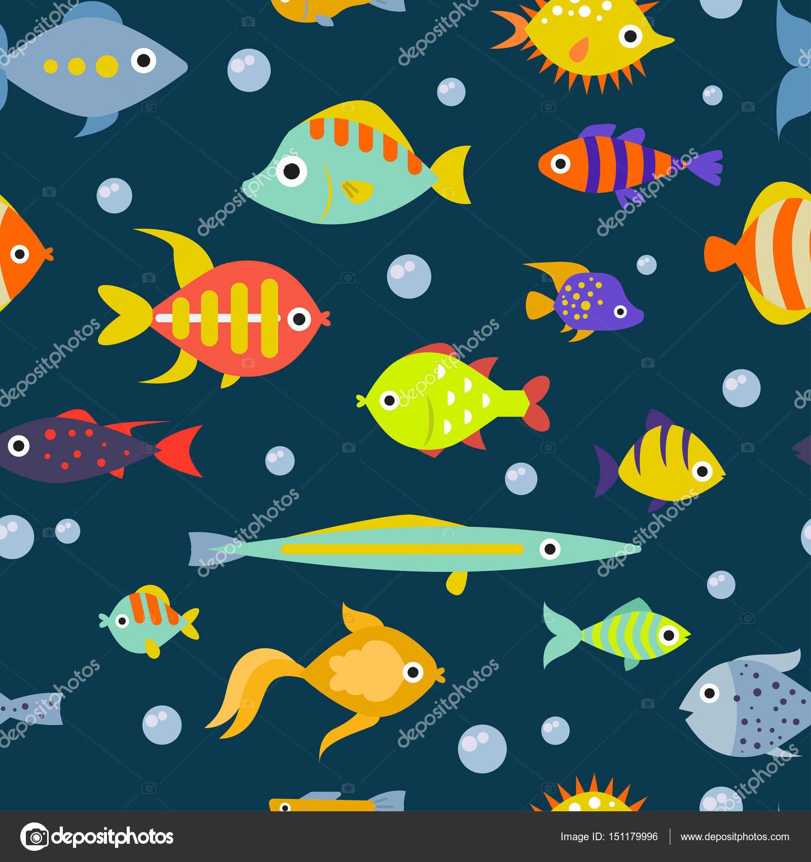 かわいい魚イラストのシームレスなパターン背景をベクトルします