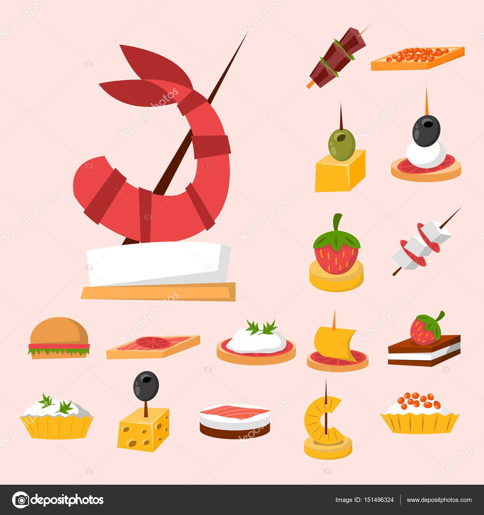 Various meat fish cheese banquet snacks on banquet platter for Canape vector download