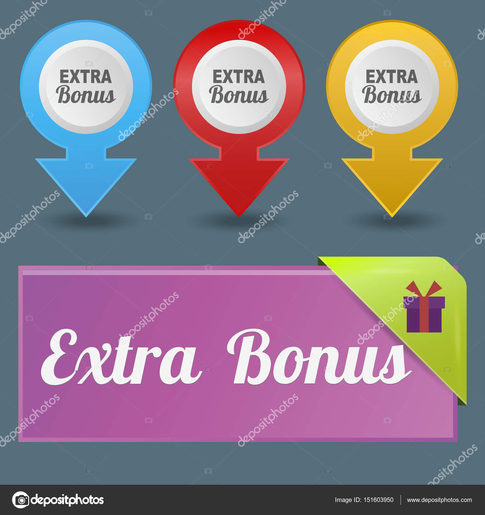 Colorful Website Extra Bonus Buttons Design Vector Illustration