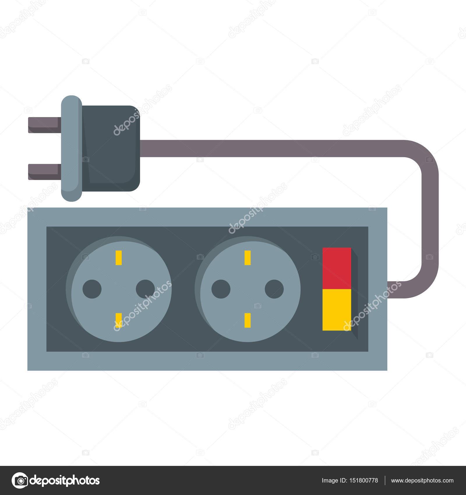 コンセント図エネルギー ソケット電気プラグ ヨーロッパ アプライアンス内部のベクター アイコン。ワイヤー ケーブル  コード接続電気二重アメリカの消費電力 ...