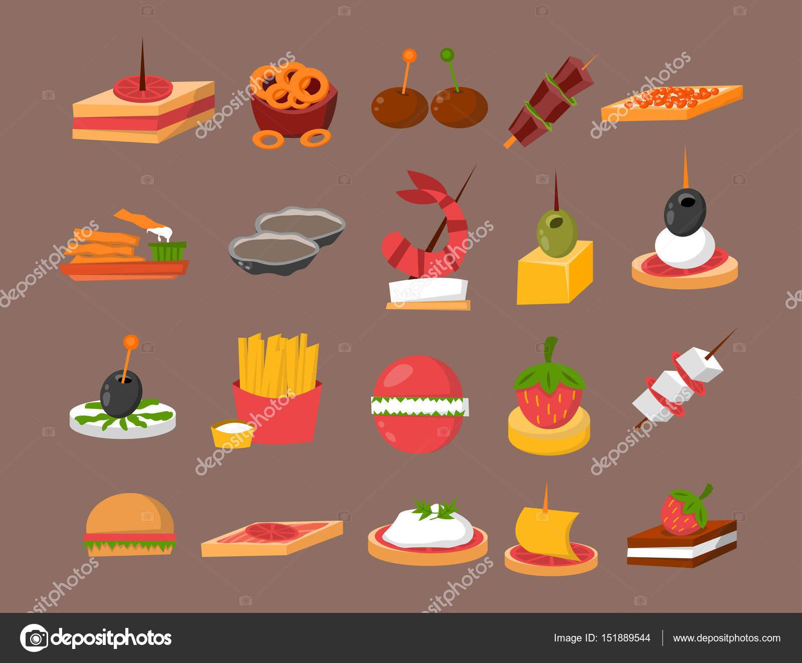 Diverse hapjes van de feestzaal van vlees vis kaas op feestzaal
