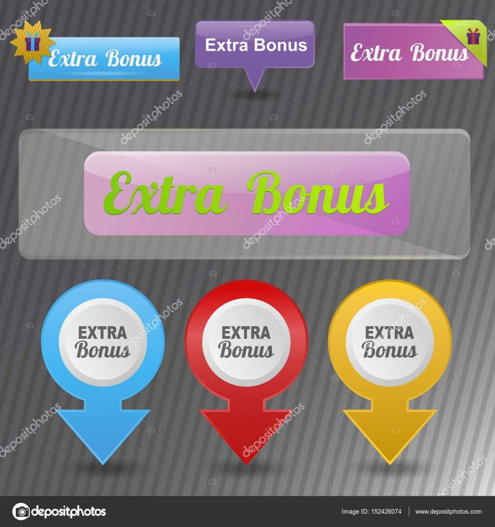 Colorful website extra bonus buttons design vector illustration ...