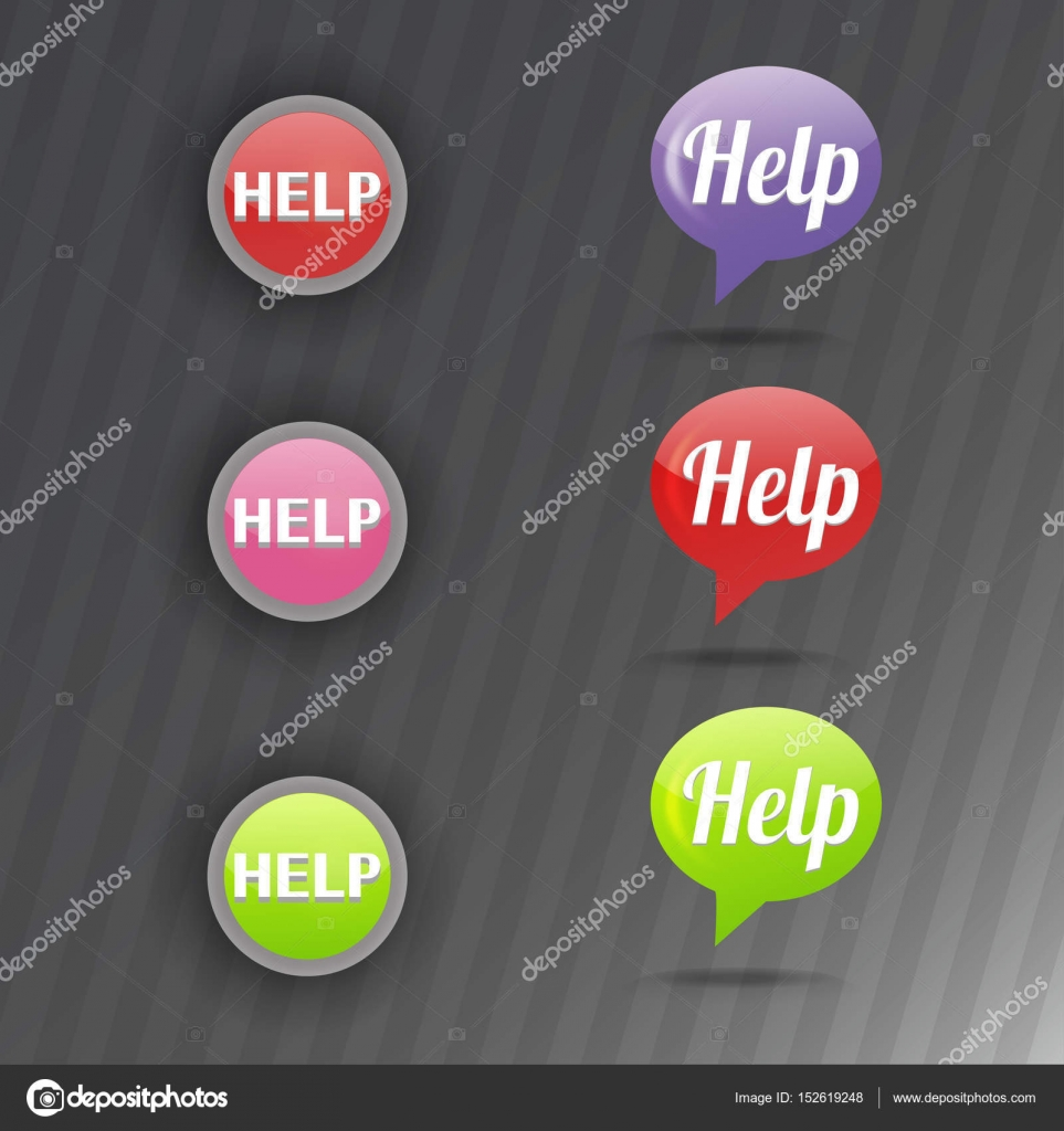 Colorful website online help buttons design vector illustration ...