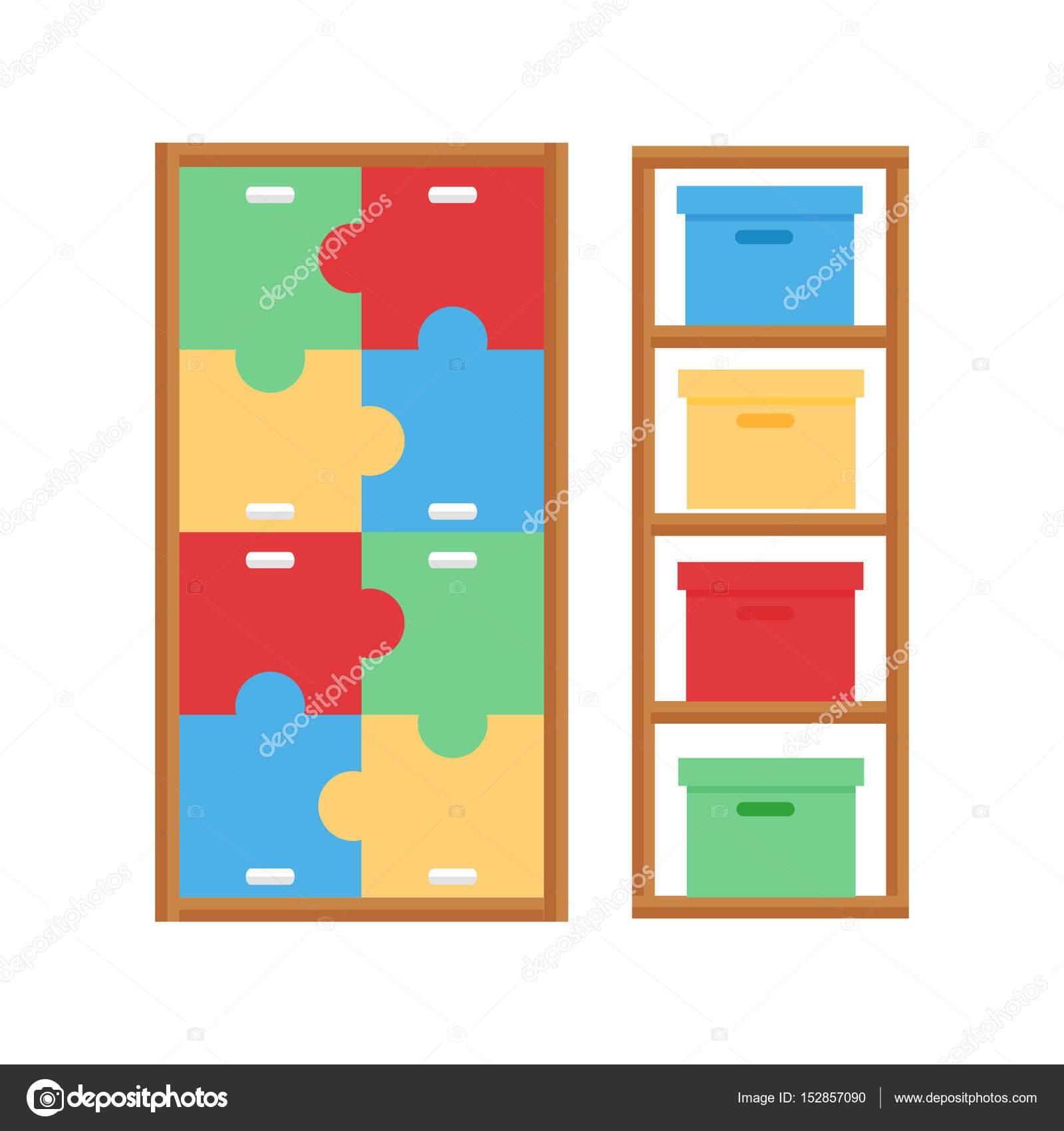 Vector De La Muebles Interiores Armario C Modo Gabinete Beb  # Muebles Juguetes Para Ninos