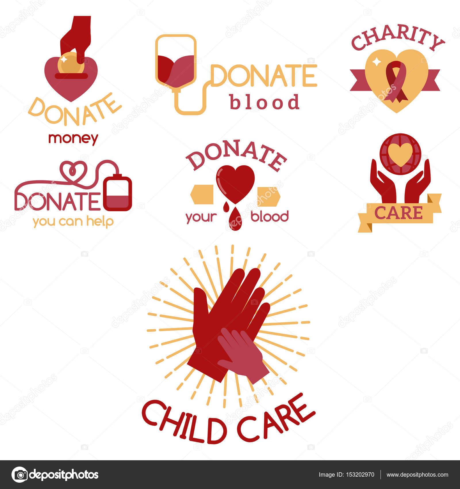 Dobrovolnicka Cervene Ikony Charitativni Dar Vektorove Sada