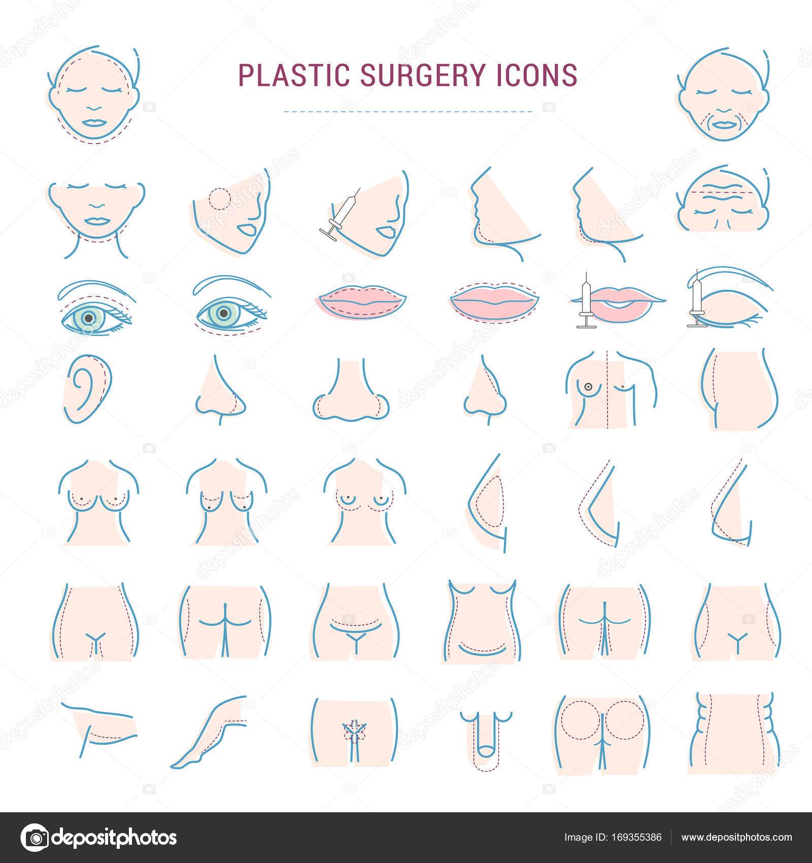 Cirugía plástica facial corrección infografía iconos mujer cuerpo ...