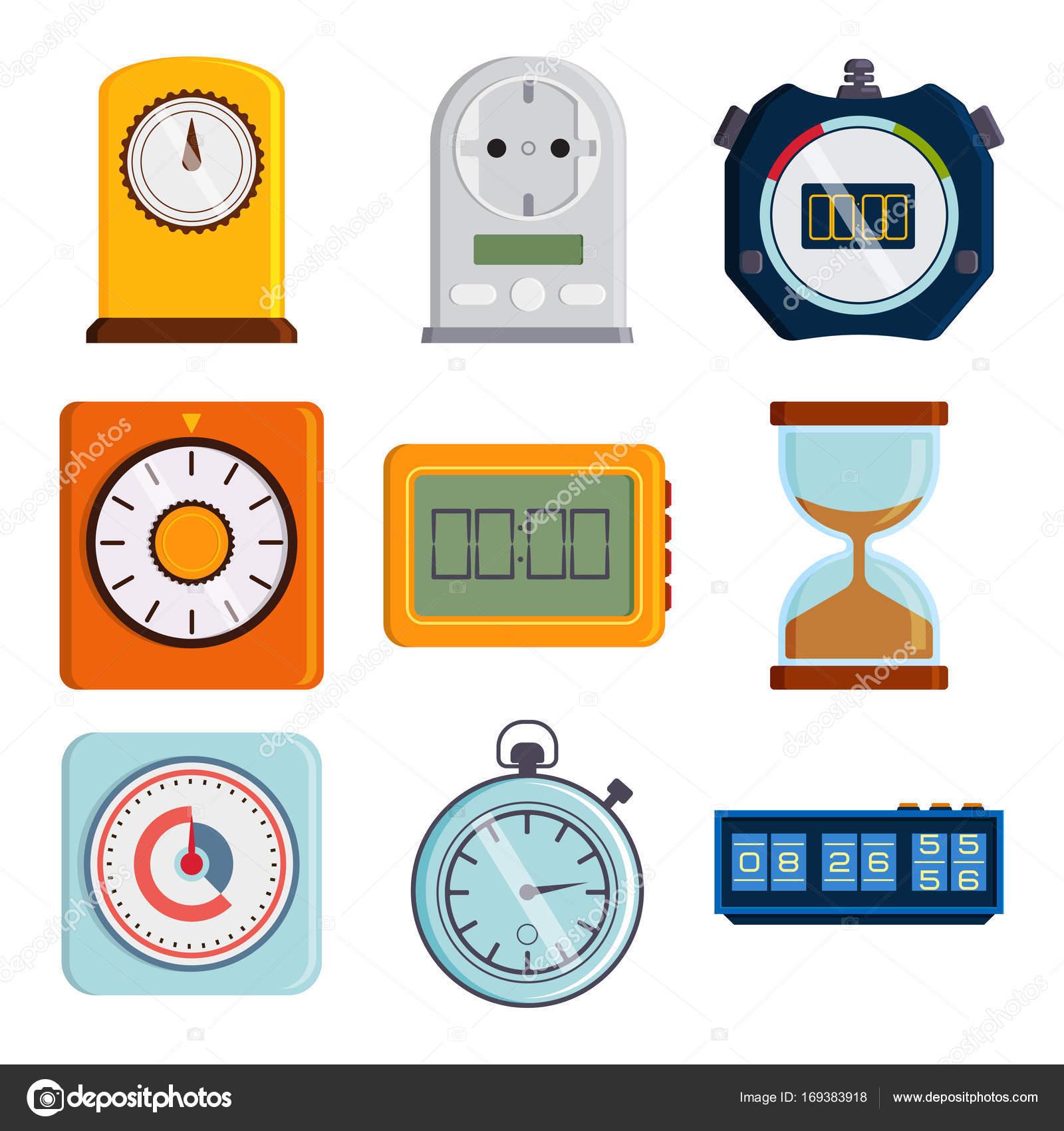 Tipos De Relojes Temporizadores Reloj Y Relojes Vector Reloj