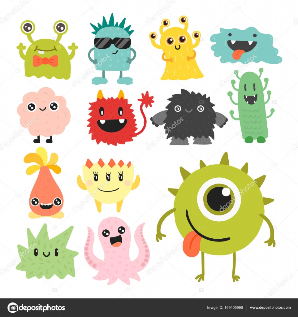 Funny Cartoon Monster Cute Alien Character Creature Happy Illustration Devil Colorful Animal Vector Stock