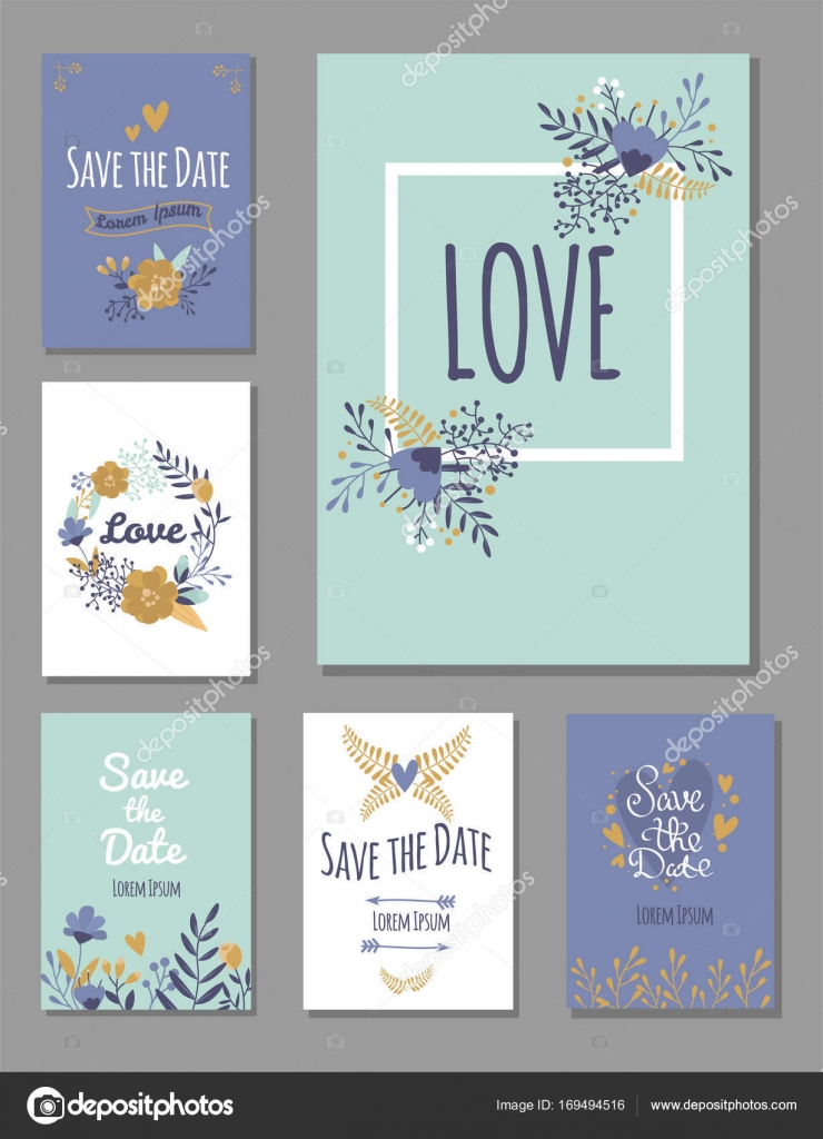 Wedding Invitation Card Suite With Flower Templates Day