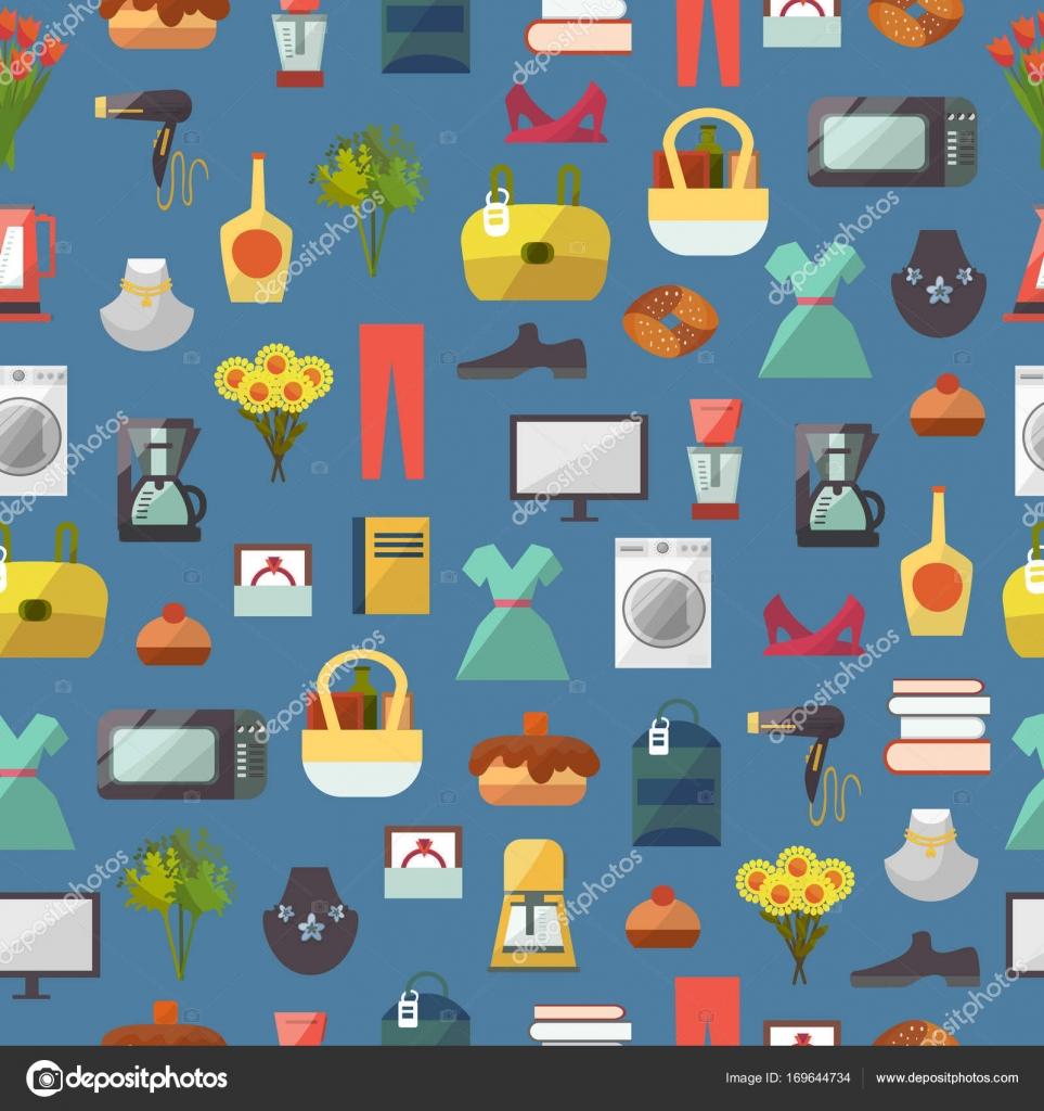 8cf121a9e4e Online winkel shop website kleding en goederen winkelen vectorillustratie  naadloze patroon achtergrond. Zakelijke korting mode kleding kopen shopper  ...