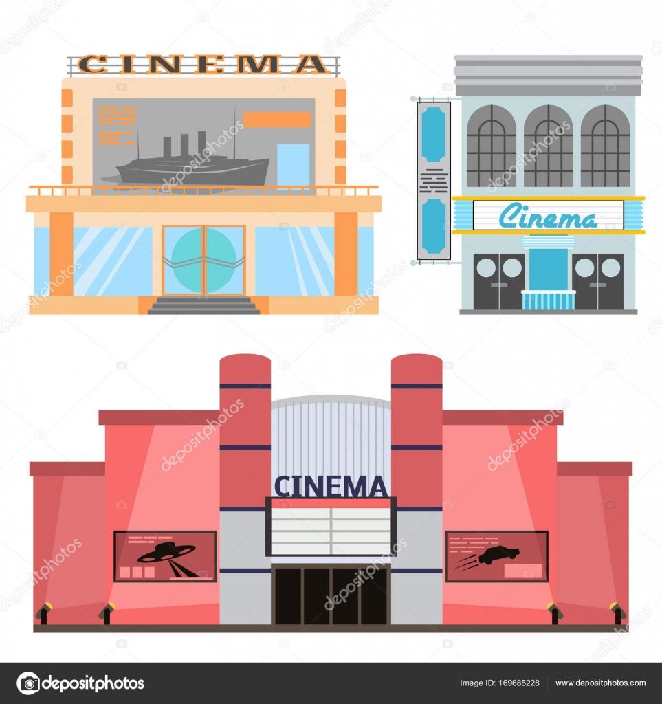 Cinema vettoriale illustrazione facciata film ...  Cinema Building Cartoon