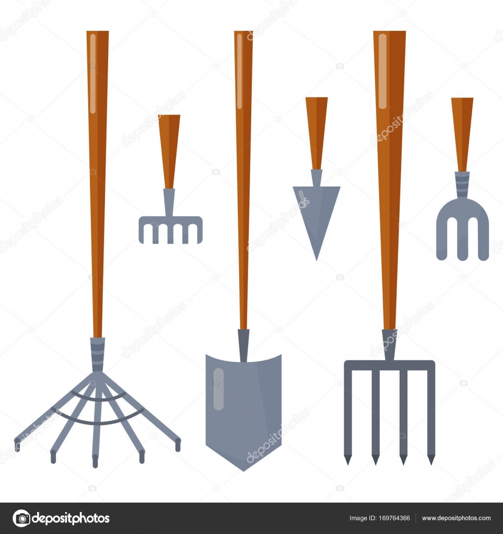 Agriculture Farming Tools Garden Equipment Flat Vector Rake For Gardening  Cleaning Harvesting. U2014 Stock Vector