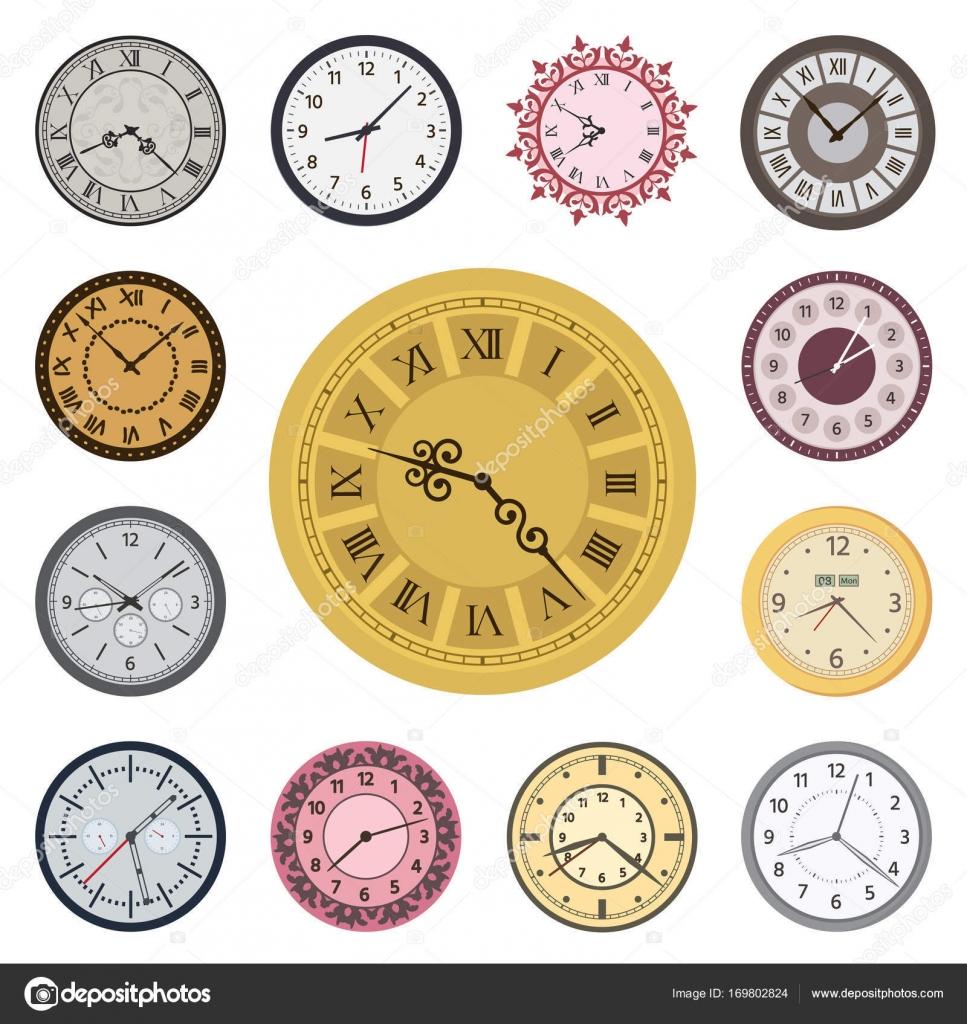 Caras de reloj vintage moderno índice ver flechas hacia la derecha ...