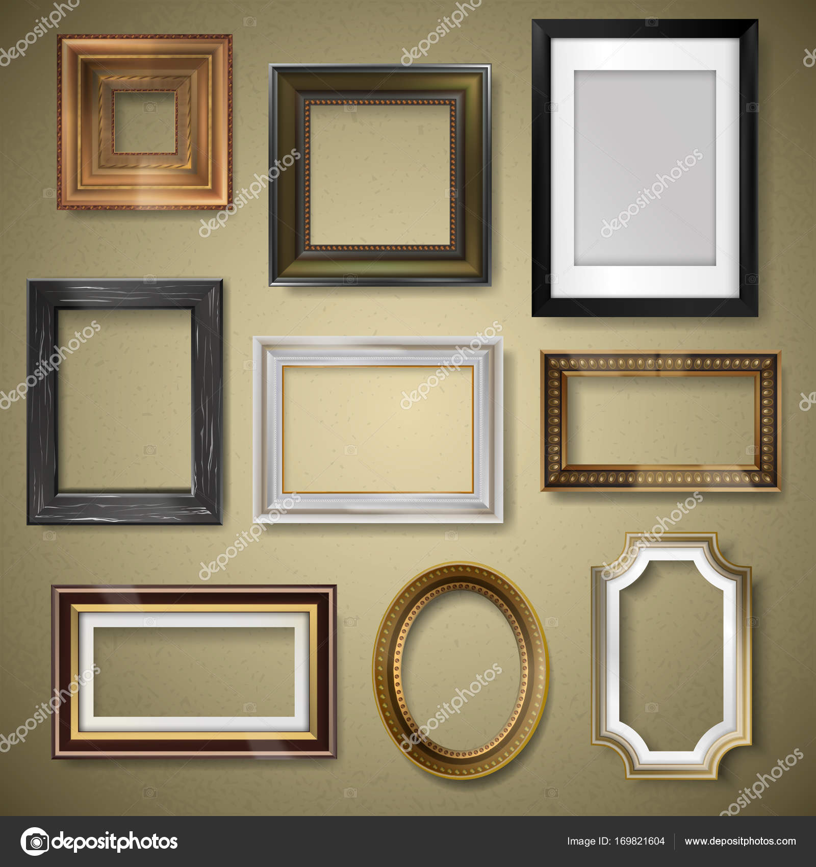 Vector retro vintage art photo picture frames museum exhibition ...