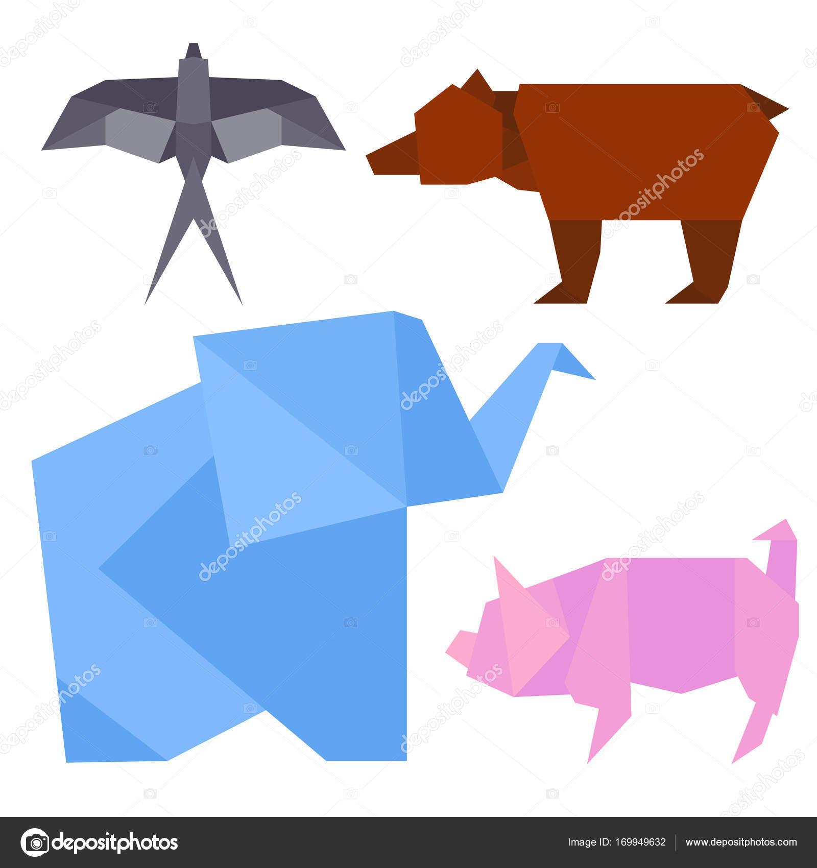 さまざまな動物の折り紙スタイル イラスト日本の伝統的なおもちゃは創造