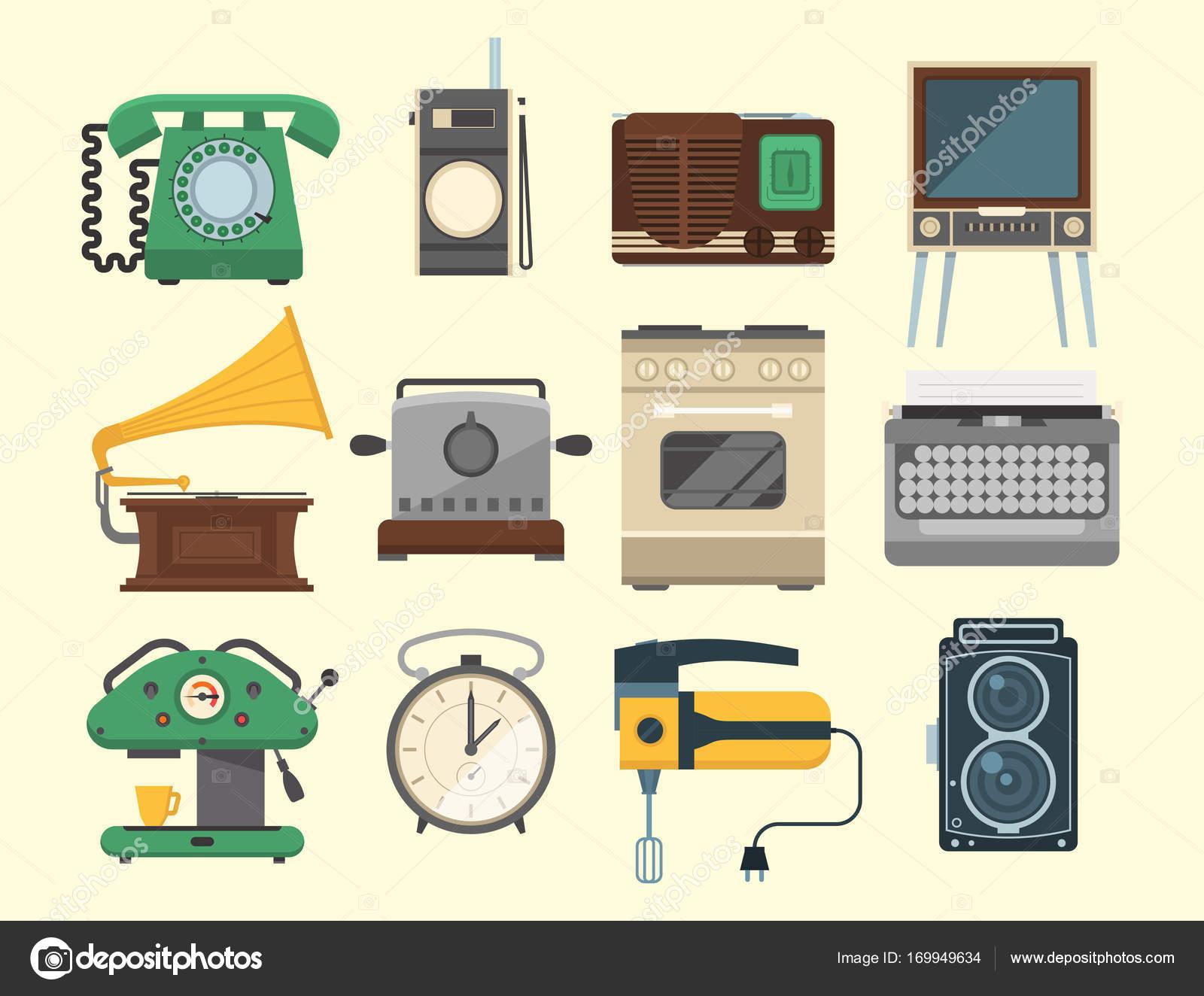 Retro vintage household appliances vector kitchenware - Electrodomesticos retro ...