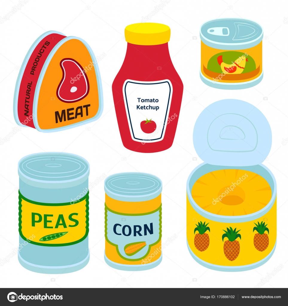 5ac48b17ab Raccolta di vari barattoli in scatola merce alimentare contenitore  metallico negozio di alimentari e prodotti deposito alluminio piatto  conserva etichetta.