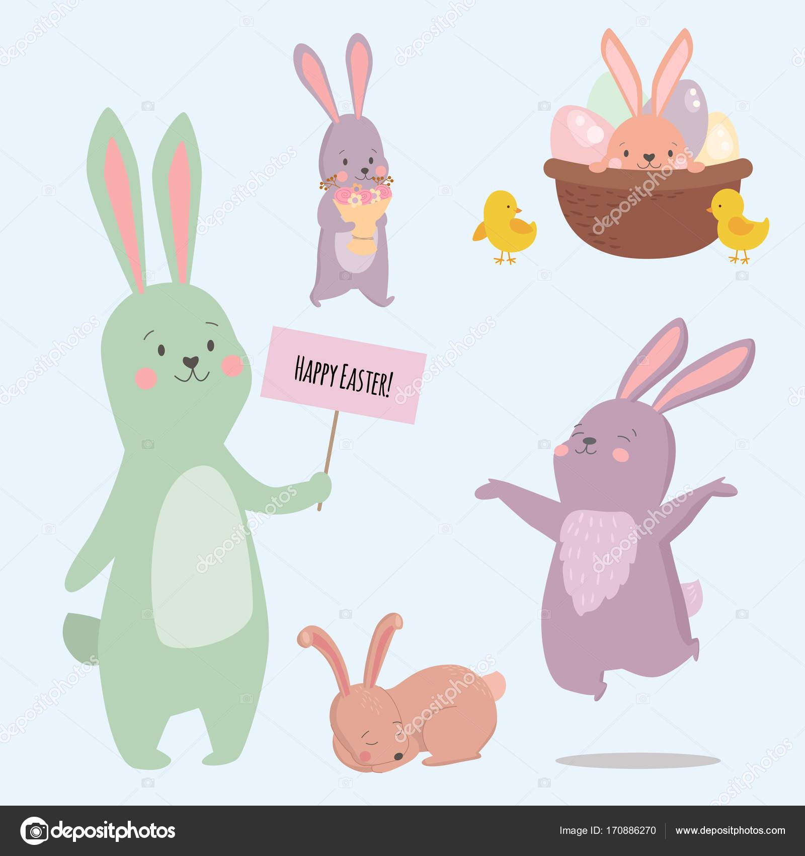 イースター ウサギの文字ウサギ ポーズを別ベクトルかわいい幸せな動物