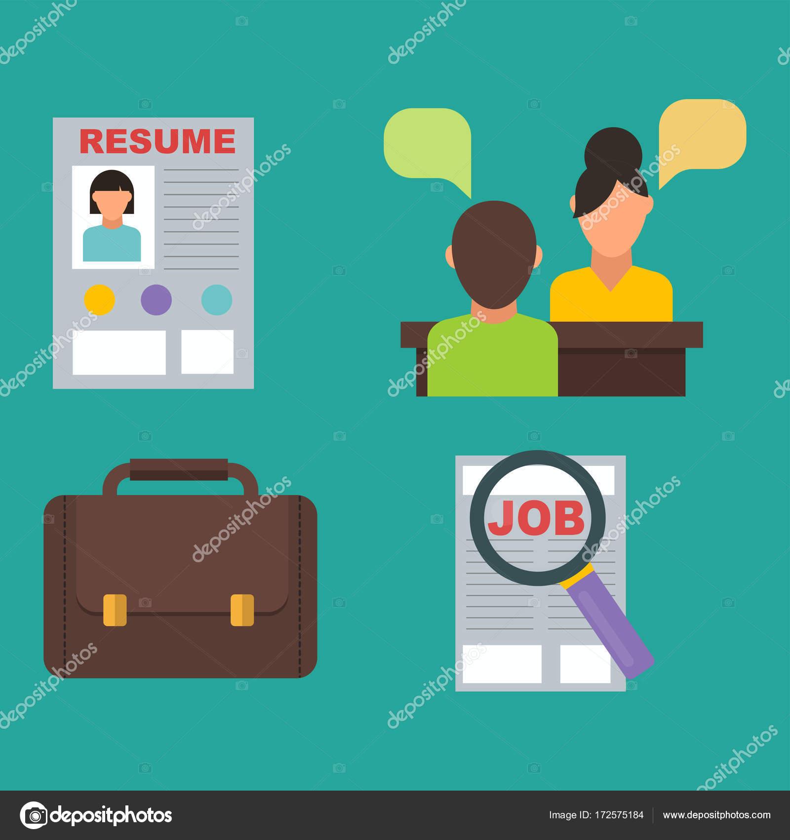 Icono de búsqueda de trabajo vector set computadora concepto humano ...