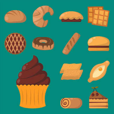 Cookie cakes isolated tasty snack delicious chocolate homemade pastry biscuit vector illustration