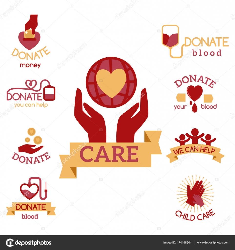 volunteer red icons charity donation vector set humanitarian