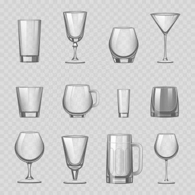 Transparent empty glasses and stemware drinks tumbler mug cups reservoir vessel realistic vector illustration