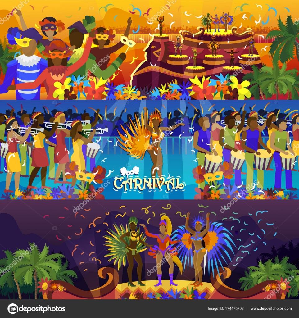 Vector brazil carnival rio festival celebration brazilian